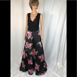 Plus Size 2 piece Floral Prom Dress